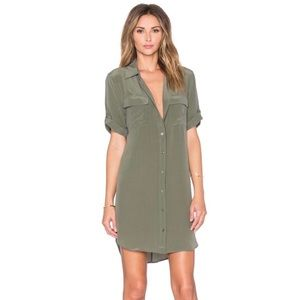 Equipment army green silk dress shirt sm
